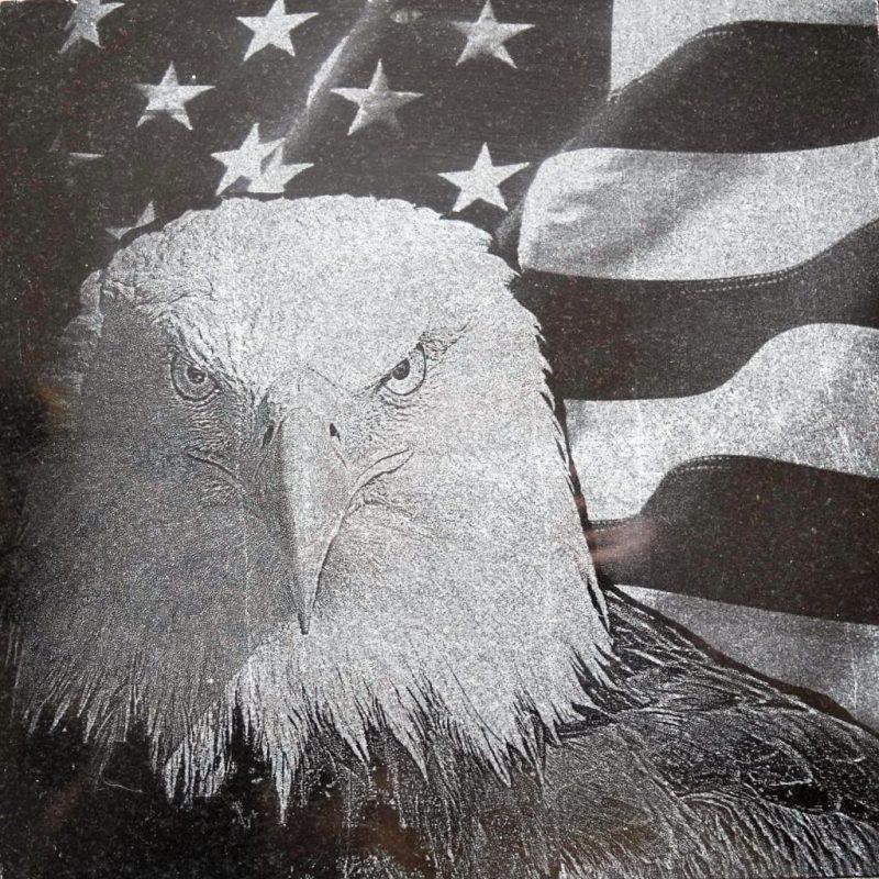 Laser Etched Eagle on Granite